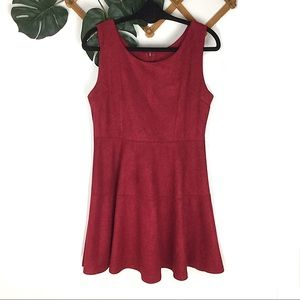 Andrade | NWT Red Faux Suede Fit and Flare Dress